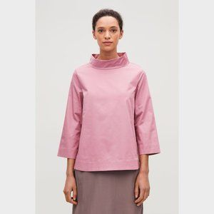 COS Pink Wide Funnel Neck Side Button Top 34 8